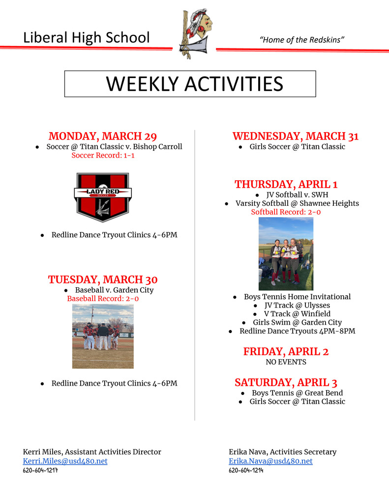 Weekly Activities March 29 - Apr 3