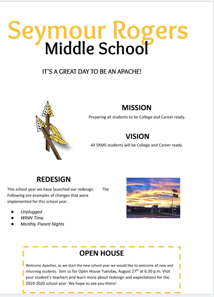 SRMS invites our Parents to Open House!!