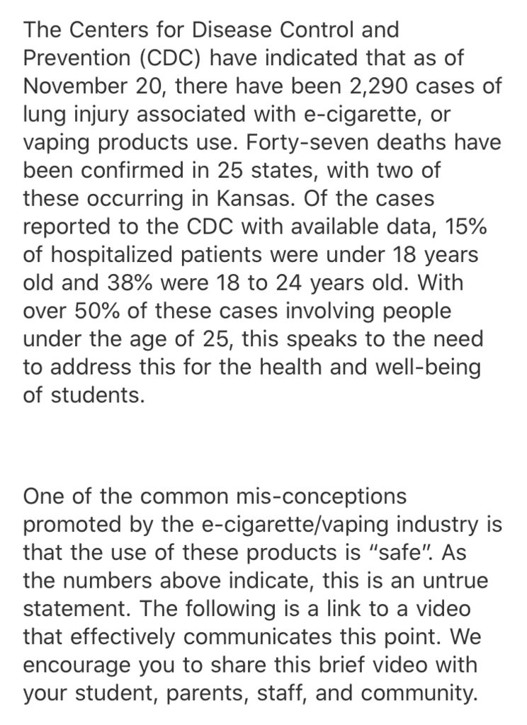 KSDE Vaping/E-Cigarette Information