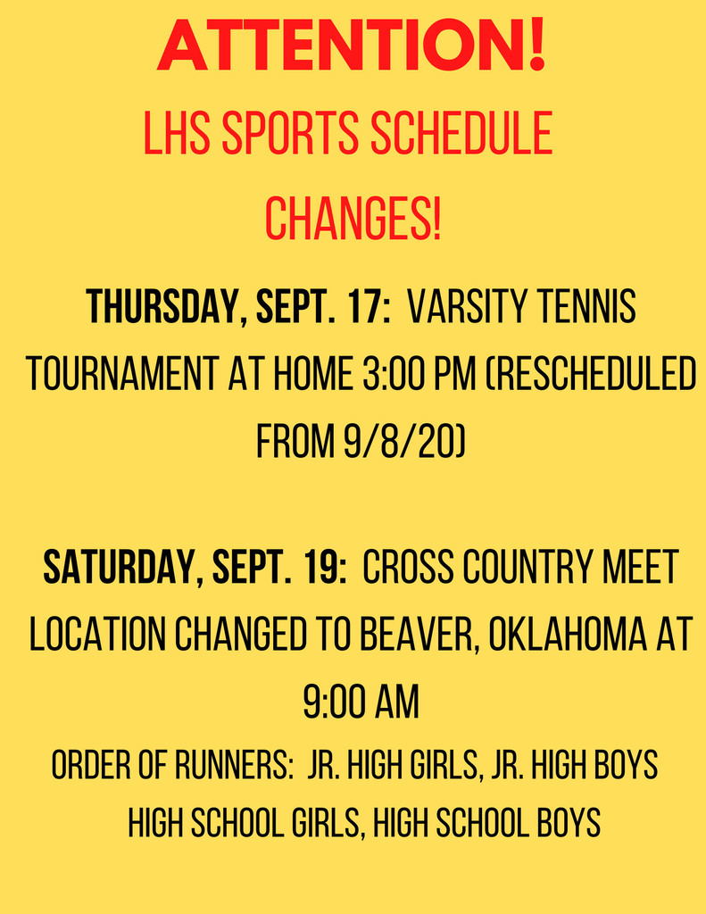 LHS SPORTS SCHEDULE CHANGES