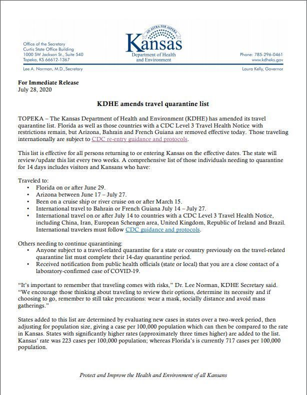 The Kansas Department of Health and Environment (KDHE): Amended Quarantine Travel List