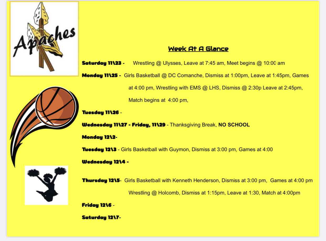 SRMS week at a glance Go Apaches!!! #onestudentatarime
