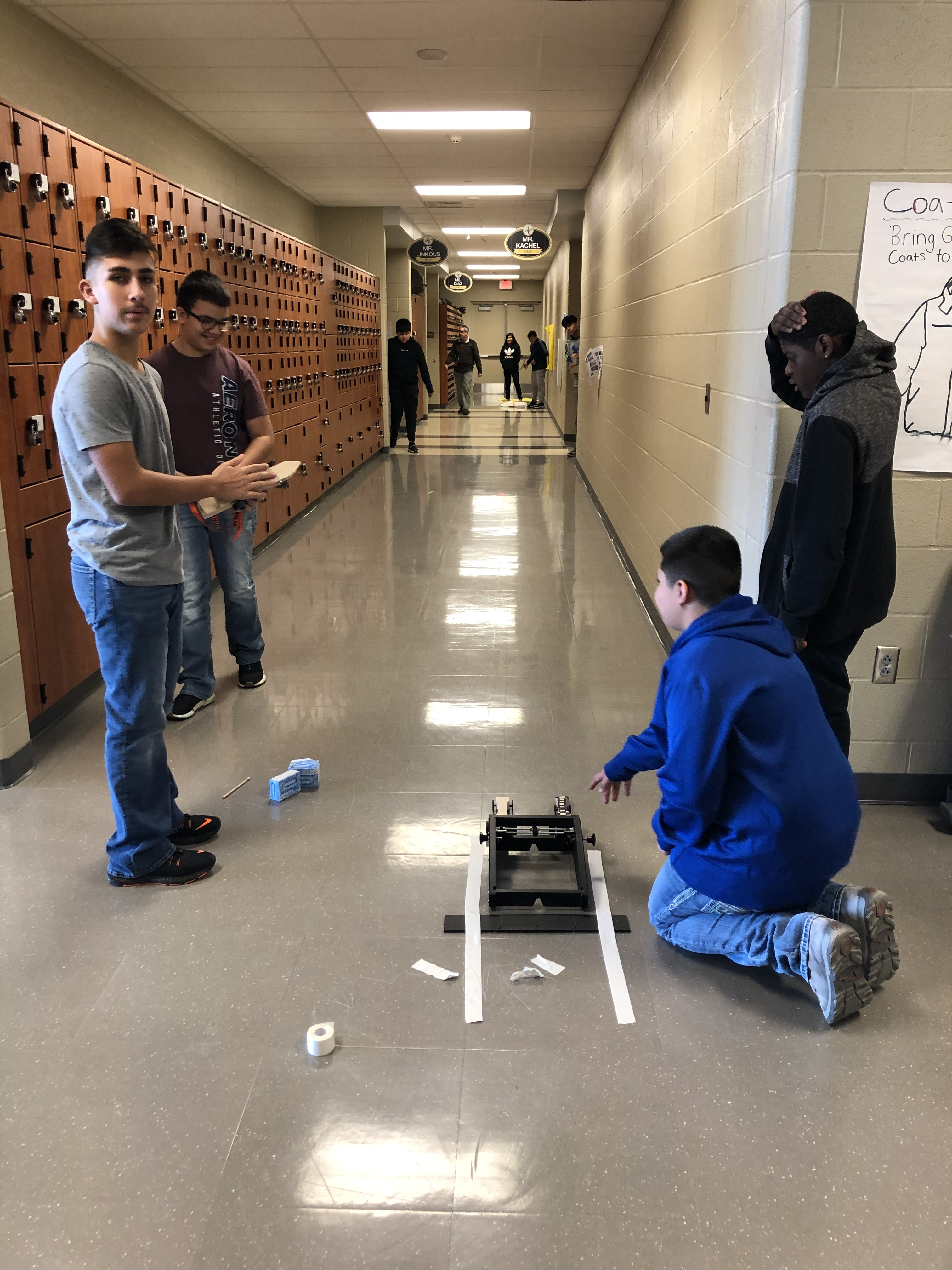Mr. Kachel's classes racing their CO2 cars!!  #onestudentatatime