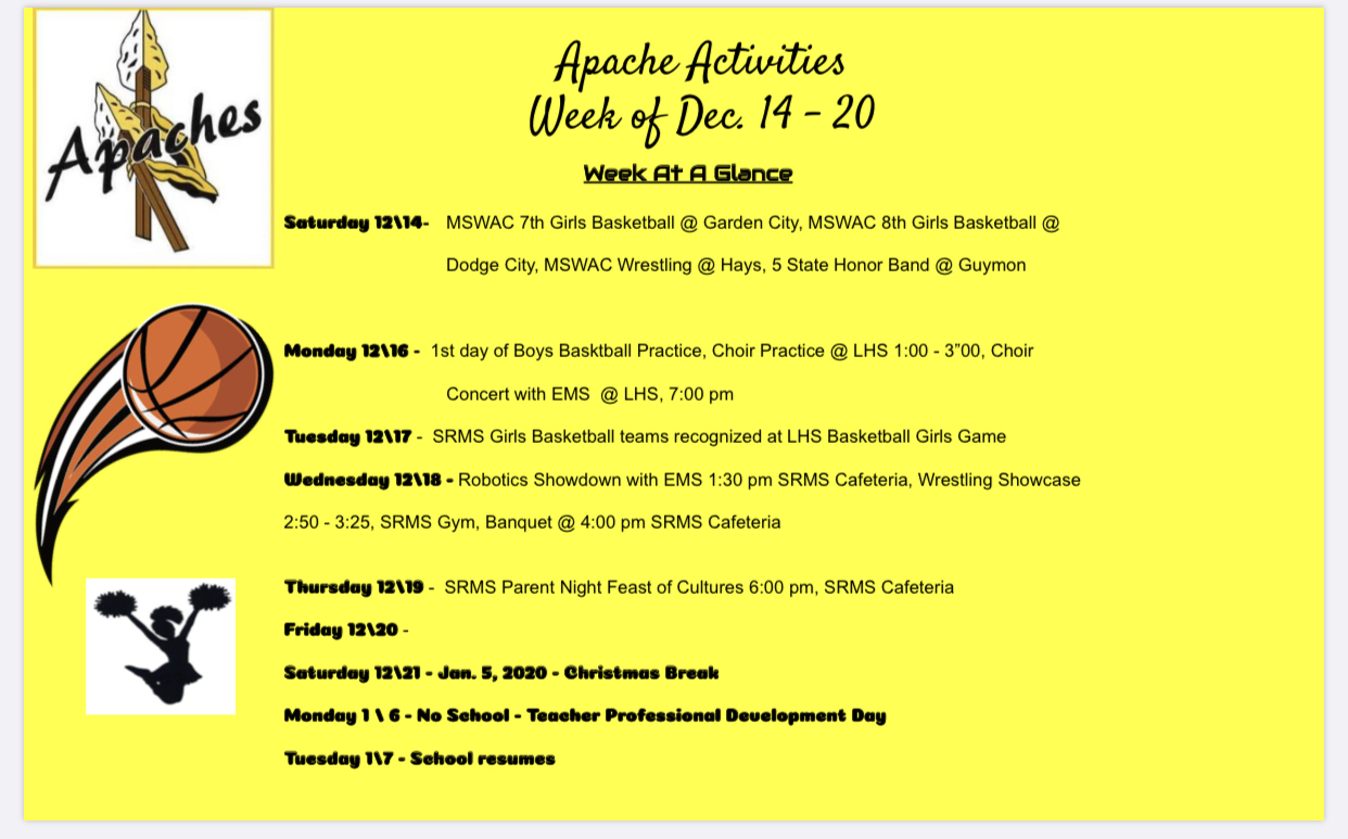 SRMS weekly happenings. Go Apaches!! #onestudentatatime